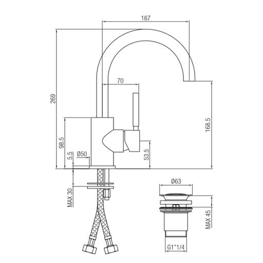 Διαστάσεις Μπαταρίας Forma Porta Bini με ψηλό στόμιο